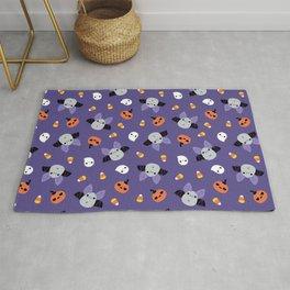 Purple Kawaii Halloween Bat Pattern Rug