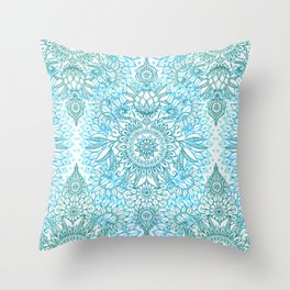 Turquoise Blue, Teal & White Protea Doodle Pattern Throw Pillow
