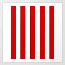 Rosso corsa red - solid color - white vertical lines pattern Art Print