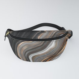 Elegant black marble with gold and copper veins Fanny Pack
