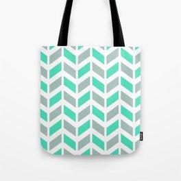 Menthol green, gray and white chevron pattern Tote Bag