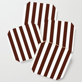 French puce brown - solid color - white vertical lines pattern Coaster