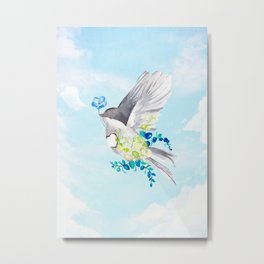 Little Bird Carries Blue Flower Metal Print