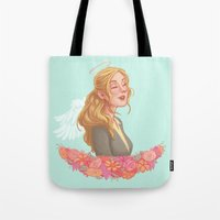 beth hoeckel Tote Bags featuring Beth Greene by Chelsea Bee