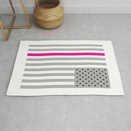 American Flag Pink Ribbon Breast Cancer Awareness Rug