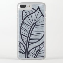 Black Leaves on Silvery Grey Clear iPhone Case