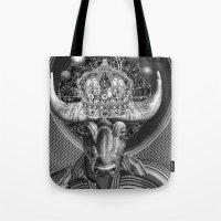 taurus Tote Bags featuring TAURUS by Julia Lillard Art