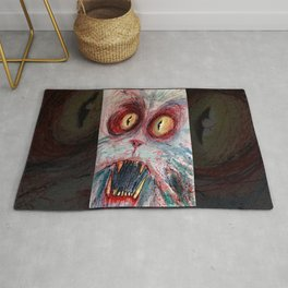 scared zombie cat Rug