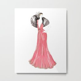 Fashion illustration 1920's dress in pink Metal Print