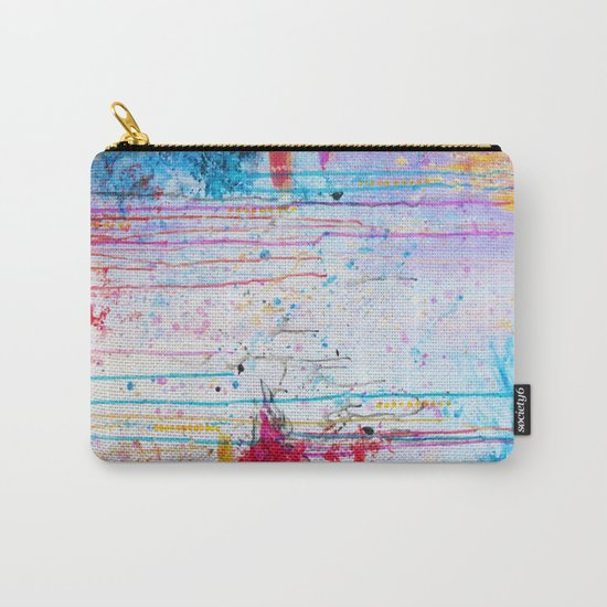 HAPPY TEARS Bright Cheerful Abstract Acrylic Painting, Drip Splat Bold Pink Red Purple Spring Art Carry-All Pouch