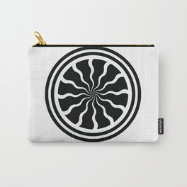 Single Pinwheel Medallion with Wavy Lines - Mandala Digital Graphic Design Carry-All Pouch