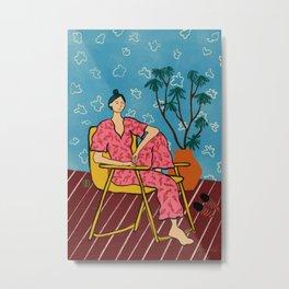 PLANT LADY AT HOME Metal Print