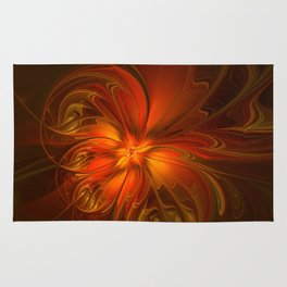 Burning, Abstract Fractal Art With Warmth Rug