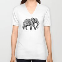 ornate V-neck T-shirts featuring Ornate Elephant 3.0 by BIOWORKZ