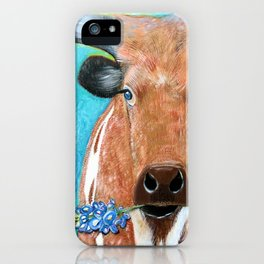Longhorn with Bluebonnet iPhone Case