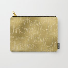 Merry christmas- christmas typography on gold pattern Carry-All Pouch