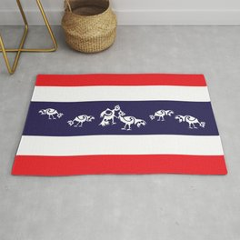 Thailand Flag, Roosters Sparring Rug