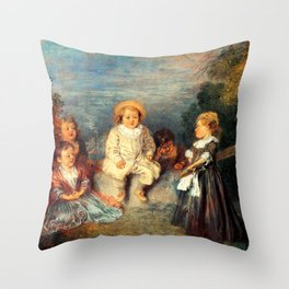 Heureux age, Age d'or Painting Artwork Throw Pillow