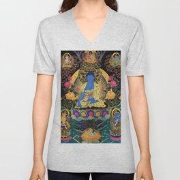 Buddha Medicine Thangka 1 Unisex V-Neck