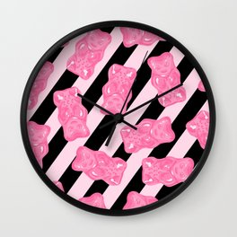 Jelly Beans & Gummy Bears Pattern - Pink and Black Wall Clock