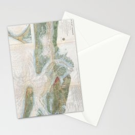 Patapsco River and Chesapeake Bay Map (1857) Stationery Cards