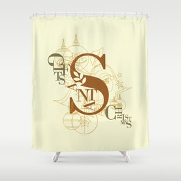 Santa Gifts Christmas Typo Shower Curtain