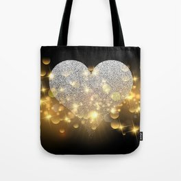Valentine's Day, Glitter Heart, Gold Sparkle Tote Bag