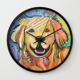 Max ... Abstract dog art, Golden Retriever, Original animal painting Wall Clock