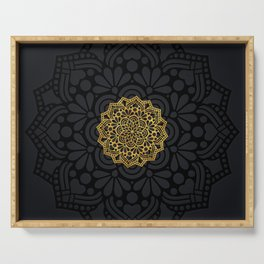 """Black & Gold Arabesque Mandala"" Serving Tray"