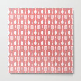 Coral Cooking Themed Pattern Metal Print