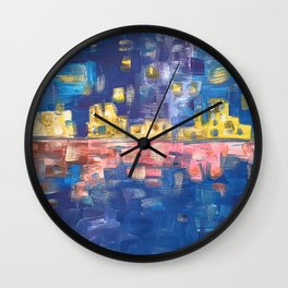 City lights in blue night | Colorful acrylic painting Wall Clock
