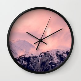 Kenai Mts Bathed in Serenity Rose - II Wall Clock