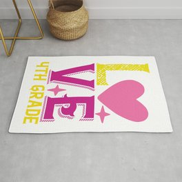4Th Grade Love - Funny School humor - Cute typography - Lovely kid quotes illustration Rug