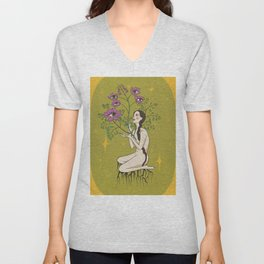 Woman with a Braid Growing Flowers form her Chest Unisex V-Neck