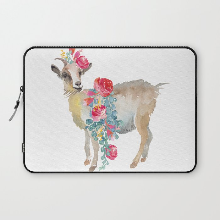 goat with flower crown Laptop Sleeve