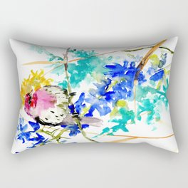 House Finch and Wildflowers Rectangular Pillow