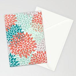 Floral Pattern, Orange, Teal, Mint Green, Flower Print Stationery Cards