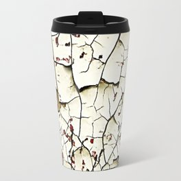 Cracked Paint White Textured Abstract Travel Mug