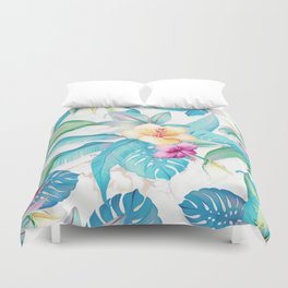 Blue tropical flowers Duvet Cover