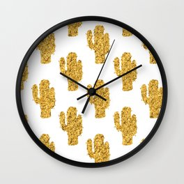 Cactus | Rustic Gold | Southwest Decor Pattern Wall Clock