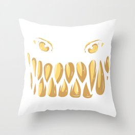 Monster Face Evil Grin Halloween Costume Gift Throw Pillow