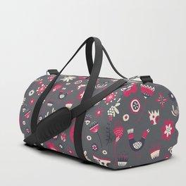 Scandi Floral Dark Duffle Bag