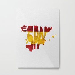 Espana / Spain Typographic Flag / Map Art Metal Print