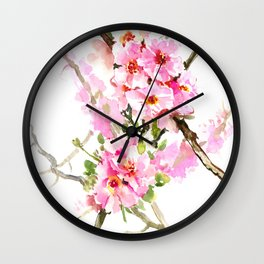 Cherry Blossom, pink floral art Wall Clock