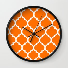 MOROCCAN ORANGE AND WHITE PATTERN 2020 Wall Clock