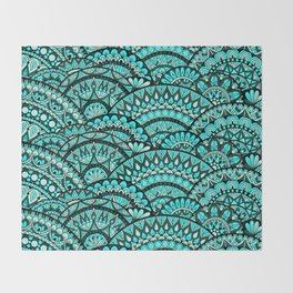 Green Wave Mandalas Throw Blanket