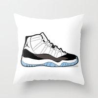 """air jordan Throw Pillows featuring Air Jordan XI Retro """"Concord"""" by Graphkicks"""