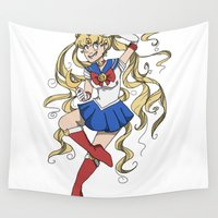 sailor moon Wall Tapestries featuring Sailor Moon by Brizy Eckert