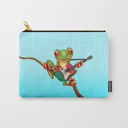 Tree Frog Playing Acoustic Guitar with Flag of Mexico Carry-All Pouch