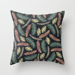 Autumn Fir Branches Throw Pillow